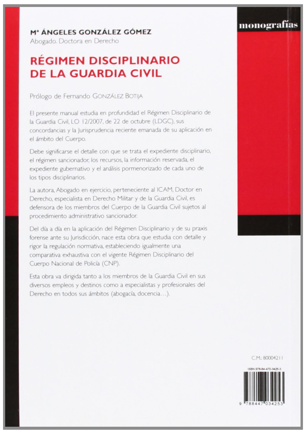 Régimen disciplinario de la Guardia Civil: María de los Ángeles Gómez González: 9788447034253: Amazon.com: Books