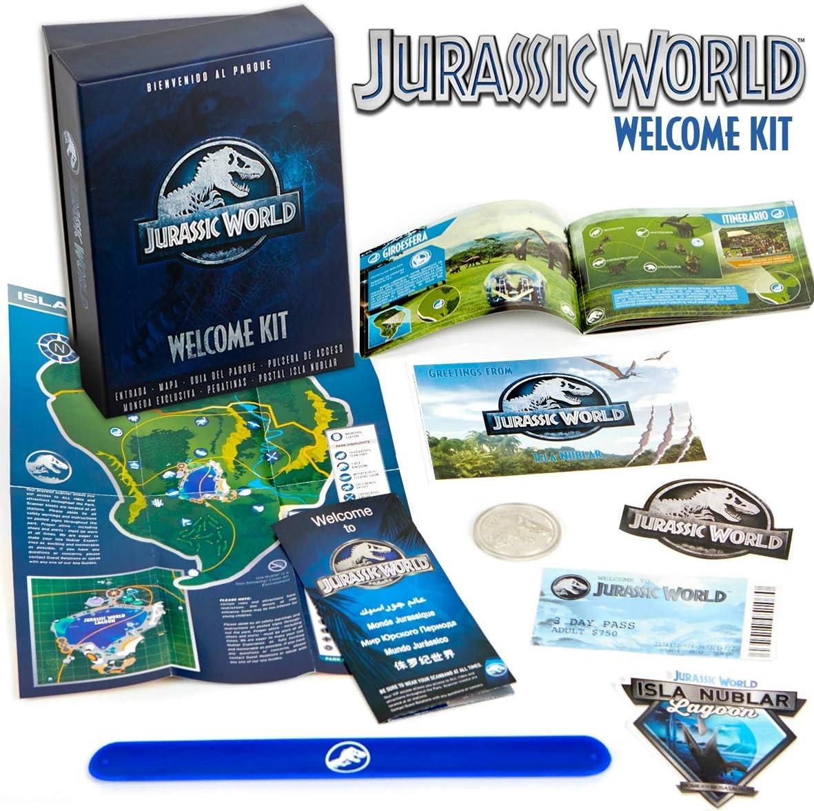 Jurassic World Welcome Kit - (Entrada, Mapa, Pulsera, Guia dinosaurios...)