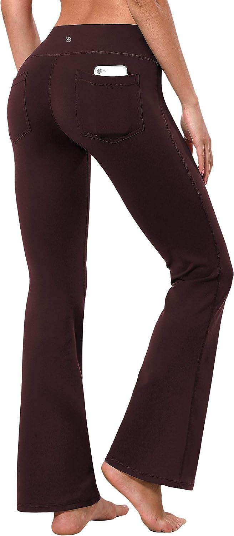 "BUBBLELIME 29""/31""/33""/35"" 4 Styles Women Bootcut Yoga Pants Basic/Back Pocket/Straight Leg Soft Workout Flare Tummy Control"