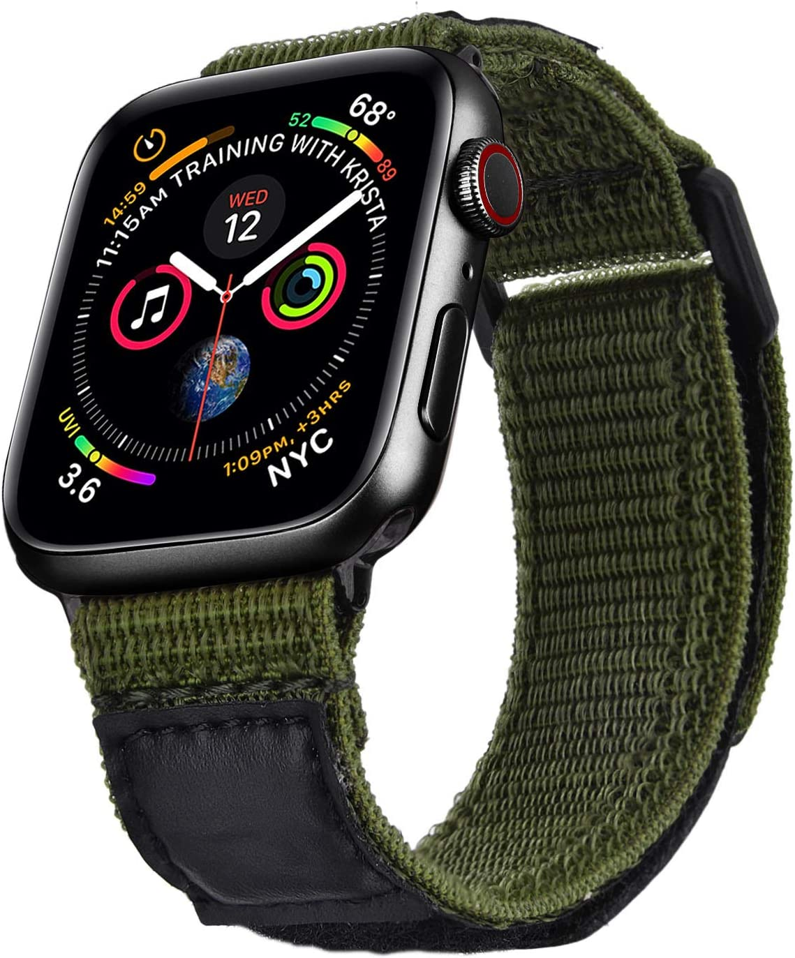 V-MORO Nylon Band Compatible with 40mm Apple Watch Bands 38mm Men Women Soft Breathable Woven Loop Strap Replacement for iWatch Series 5 4 3 2 1 40mm 38mm Sport Army Green