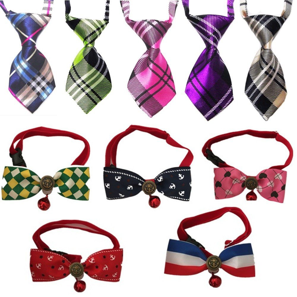 Lebbeen 10pcs/pack,Cool Gentle Stylish Adjustable Pet Teddy Cat Dog Rabbit Bow Ties Necktie