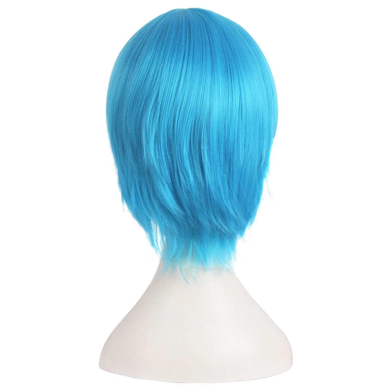 MapofBeauty 30cm//12 Pouce Moyen Droit Homme Droit Perruques Bleu//Noir