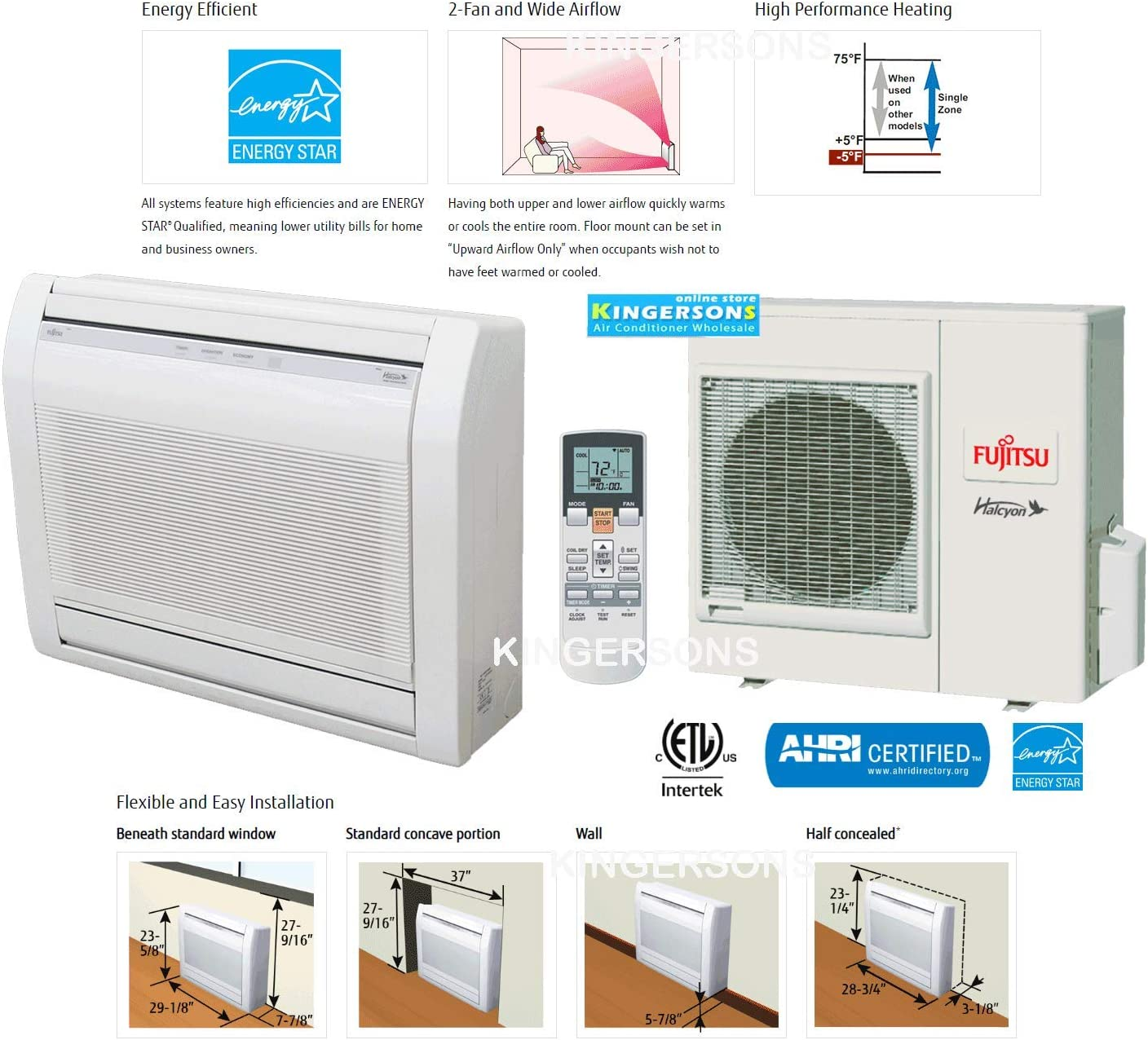 Amazon Com Fujitsu 3 4 Ton 9000 Btu Cooling Heating Ductless Split Ac Floor Mount Air Conditioning System 26 Seer Energy Star Home Kitchen