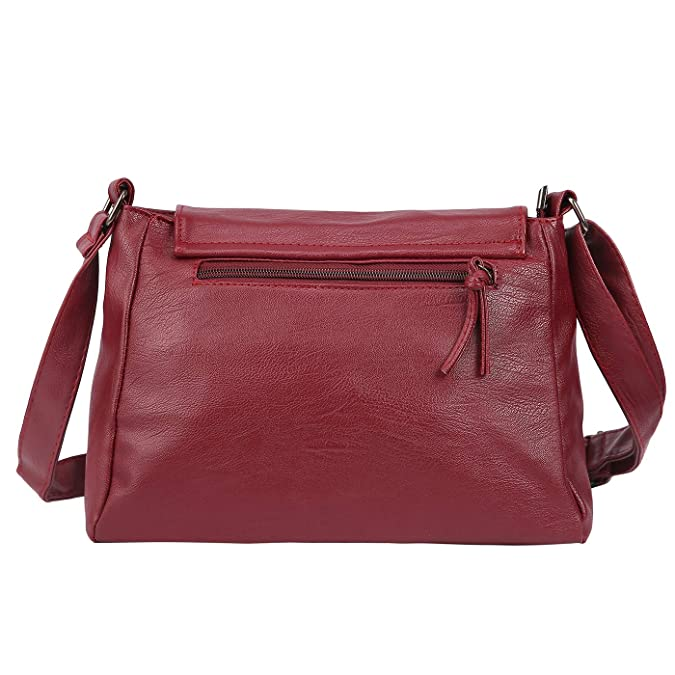 ad7591d772be HDE Womens Faux Leather Crossbody Purse Soft Multi Pocket Dark Red  Crossover Bag (Wine Red)