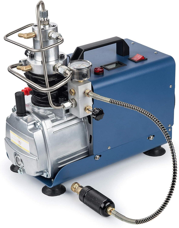 Bomba de compresor de Aire de Alta presión con Parada automática de presión Ajustable 300BAR 30MPA 4500PSI, Bomba de Aire PCP eléctrica con manómetro para Rifle de Paintball HPA Ai