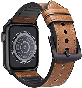 MARGE PLUS Compatible Apple Watch Band 44mm 42mm, Sweatproof Hybrid Genuine Leather and Silicone Sports Watch Band Replacement for iWatch SE Series 6 5 4 3 2 1, Brown