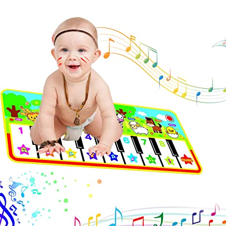 Beser Music Mat Piano , Keyboard Playmat Carpet  Animal Sounds Blanket  ,Portable Electronic Musical Interactive Sounds Toy , Floor Dance Mat Baby