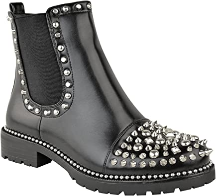 Womens Black Stud Chelsea Ankle Boots Chunky Pull On Cleated Flat Low Heel Size