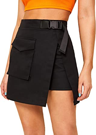 WDIRARA Women's Casual Summer Belted Front Pocket Patched Short Mini Skirt