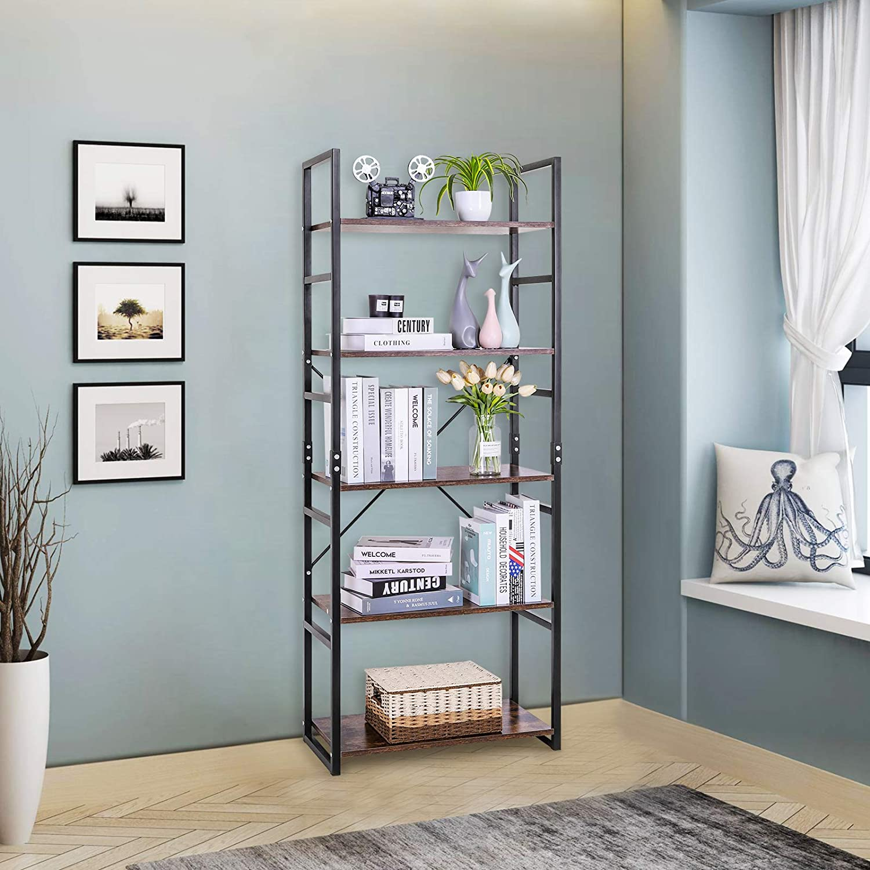avec cadre m/étallique pour Salon Llivekit Biblioth/èque /à 5 niveaux /Étag/ère Vintage en escalier 60,6 *30 * 158 cm Rangement Cuisine Vintage