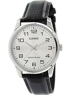 Casio Mens MTPV001L-7B Black Leather Quartz Watch