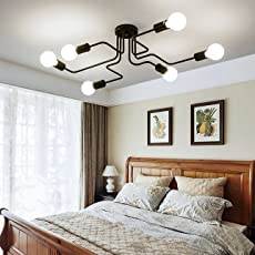 Chandeliers amazon lighting ceiling fans ceiling lights oygroup retro creative metal flush mount 6 light cafe bar ceiling lamp chandelier lighting fixture mozeypictures Image collections