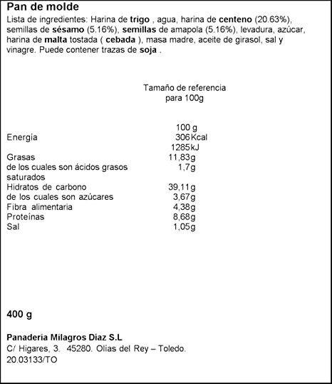 Pan Milagros - Pan de molde natural con centeno y semillas - 400 g