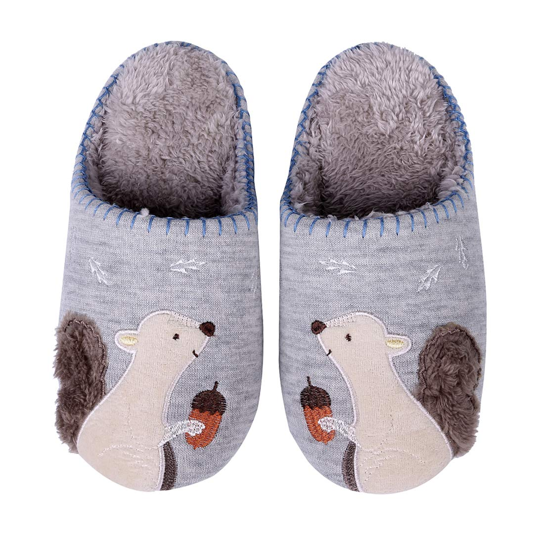 Cute Animal Home Slippers Blue Squirrel Indoor Slippers Waterproof Sole Fuzzy House Slippers for Kids 9B-M