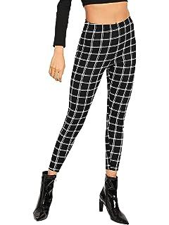 b0a87f61291 WDIRARA Women s Elastic Waist Plaid Print Pants Soft Printed Fashion  Leggings