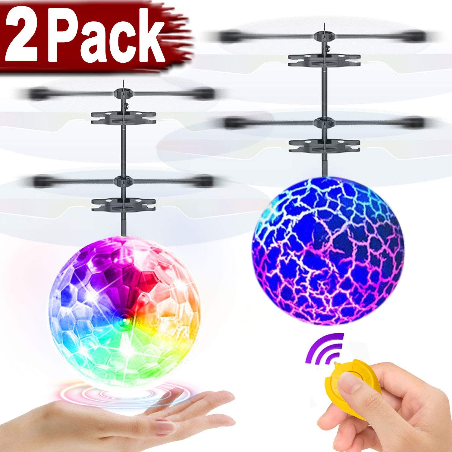 2 Pack RC Flying Ball Glow Flying Toys for Kids Boys Girls Birthday Gifts, Mini Drones Hand Controll Helicopter with 2 Remote Controller Quadcopter Light Up Ball Toys Indoor Outdoor Multiplayer Games by Camlinbo