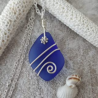 product image for September Birthstone, wire wrapped cobalt Sapphire blue sea glass necklace, (Hawaii Gift Wrapped, Customizable Gift Message)