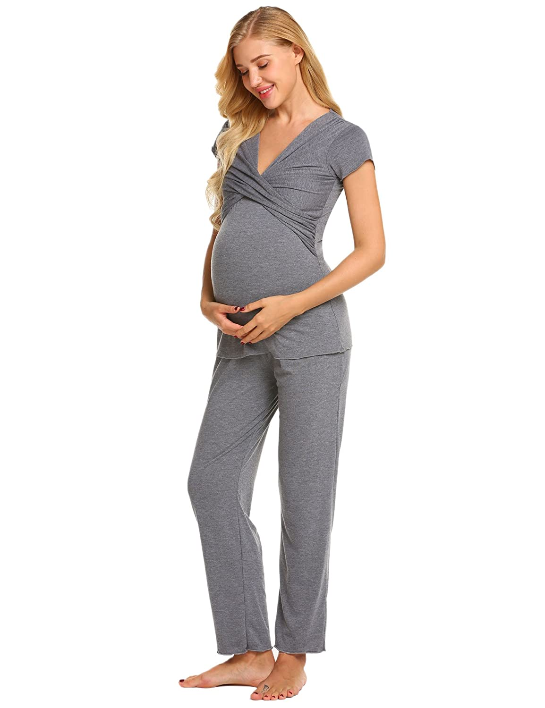 Kisshes Womens Maternity Pyjamas Set Nursing Breastfeeding PJS Loungewear