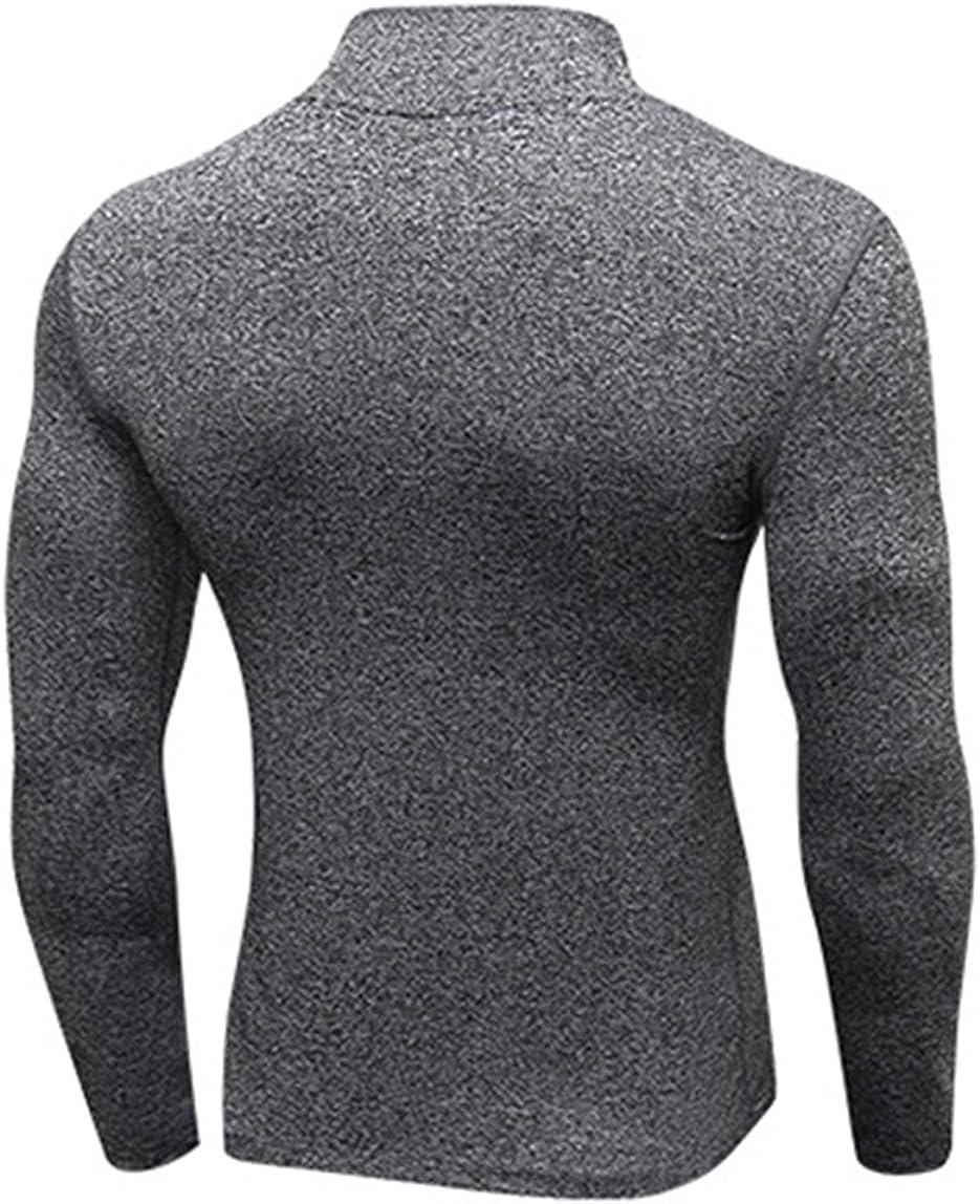 Mens Compression Shirt Gym Running Basketball Mock Neck 1//4 Zip Top Short Sleeve