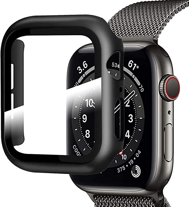 Apebest Case for Apple Watch Screen Protector 40mm, Full Coverage Case for iwatch screen protector 40mm, Black Hard PC Bumper Cover for Apple Watch Series 6 5 4 SE 40mm Tempered glass