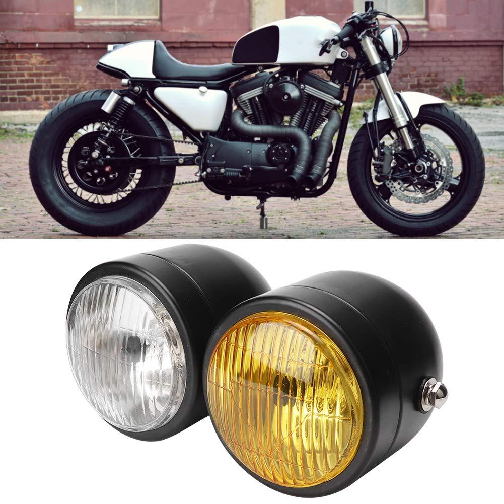 Doppio faro anteriore universale da motocicletta da 8,5 cm White+Yellow