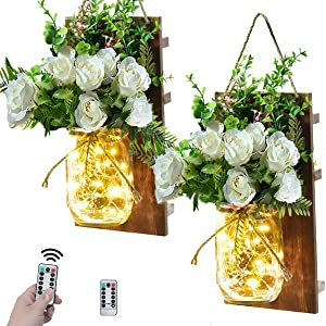 VIEFIN Mason Jar Sconces Wall Decor,Rustic Home Decor Wall Art Hanging Mason Jar Decor with Remote Control LED Fairy Lights and White Rose for Farmhouse Wall Decorations(2 Pack,White)