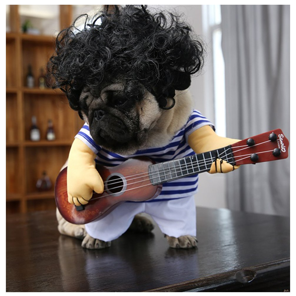 Delifur Dog Costume Pet Costumes with Toy Ukulele Costume Funny Costume Dog Carrying Costume Spooky Night Pet Clothing Special Events Guitarist Costume for Dog & Cat by (XL)
