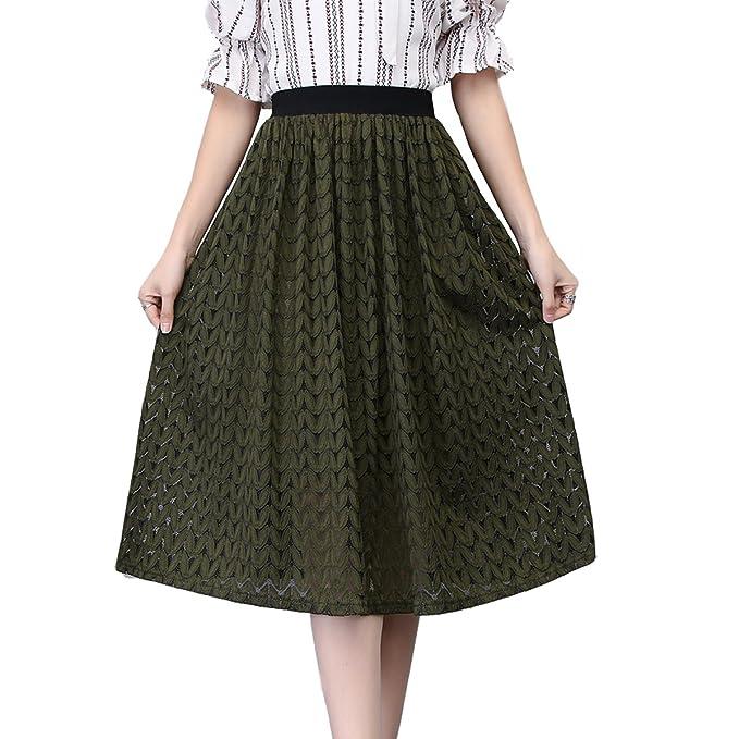 0dae5d105b36 Nadalan Women's Temperament Elegant Skirt (Free Size, Dark Green) at ...