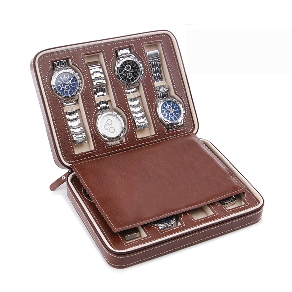 Aco&bebe House Black Zippered Watches Box Travel Case - Watch Organizer Collection - Top Grade Carbon Fibre PU Leather (Coffee-8 Slots)
