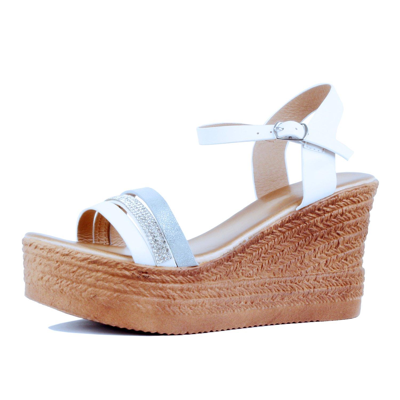 Guilty Heart Womens Summer Rhinestone Strappy Comfortable Casual Wedge | Walking Platform Slingback Sandals B07DF7FFXQ 9 B(M) US|03 White