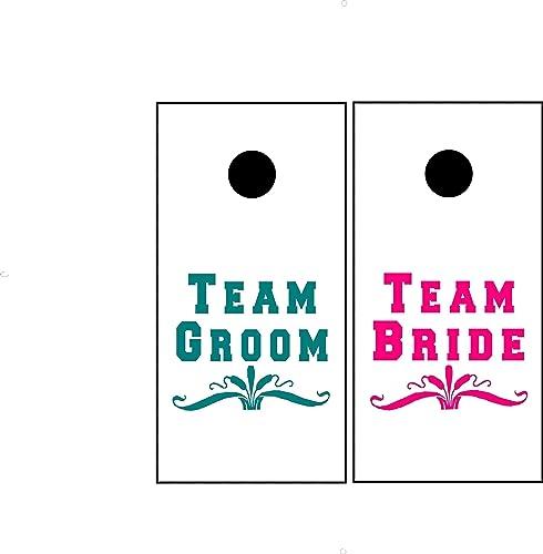6b994bb17b425 Amazon.com: wedding teams custom corn hole board decal only for team ...