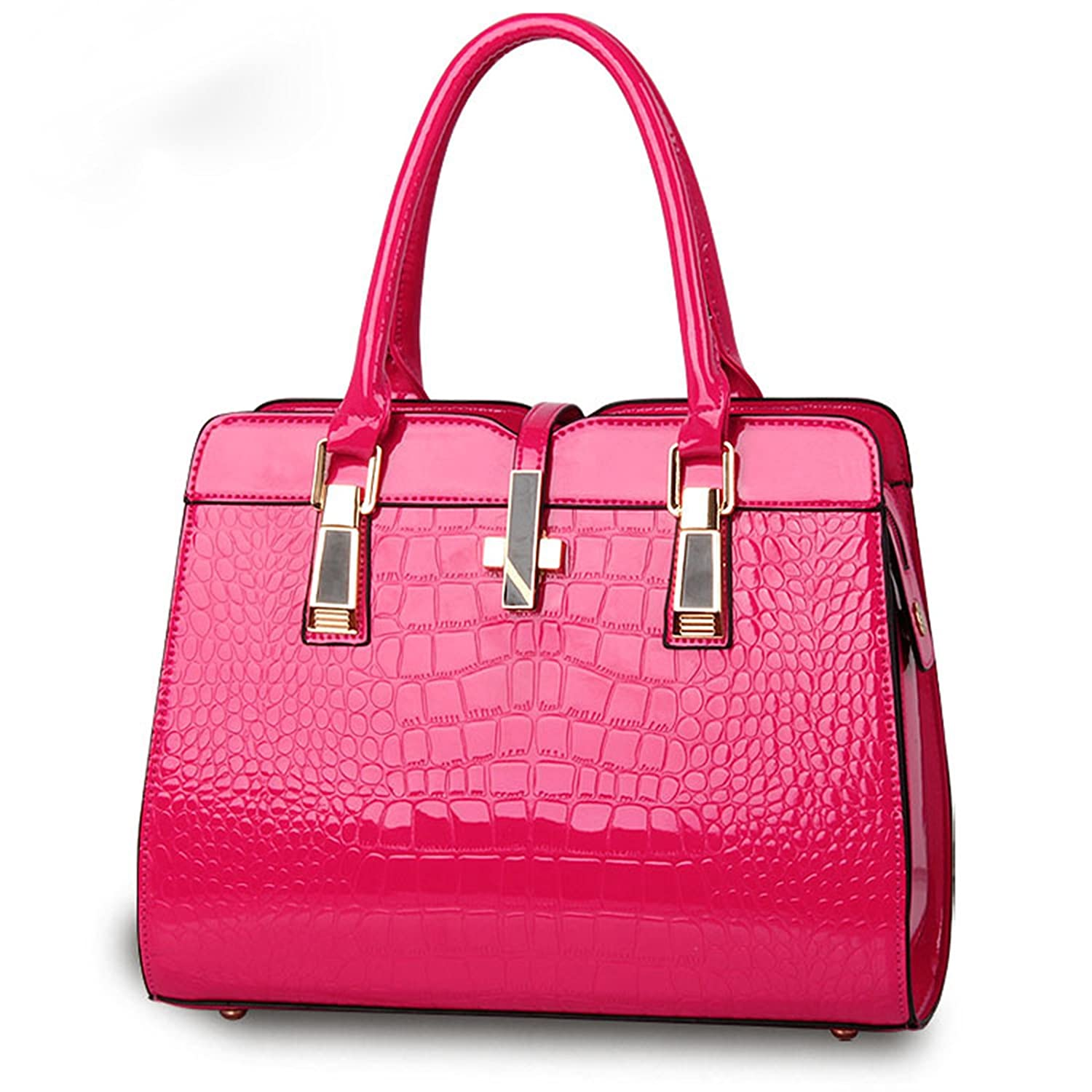Girl Women's Large Roomy Pu Leather Multifunctional Tote Bag Hot Pink