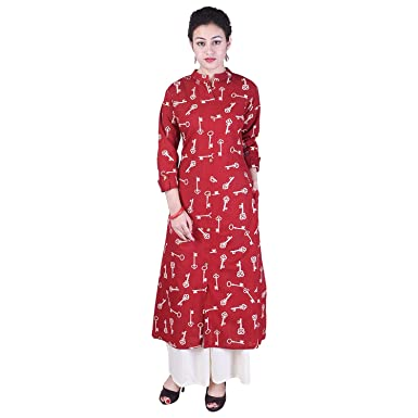 33ce4198ad Crazora Women's Cotton Printed Front Cut kurta kurti With Palazzo set