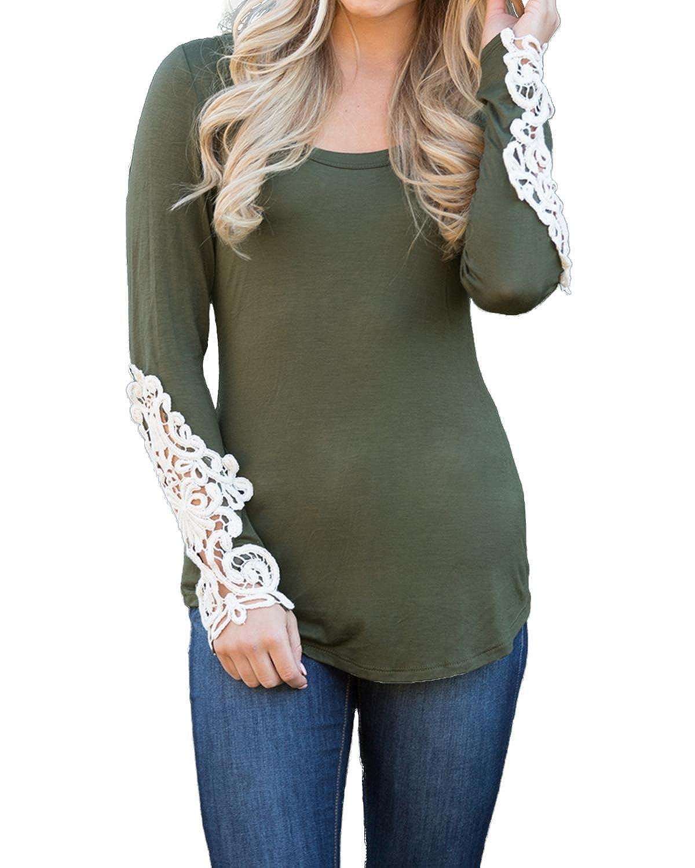 e00495d6d2b915 StyleDome Damen Spitze Länge Ärmel Tops Hälken Crochet Niedriger Kragen  Hollow Lace Shirts Strench Casual Slim Oberteil  Amazon.de  Bekleidung