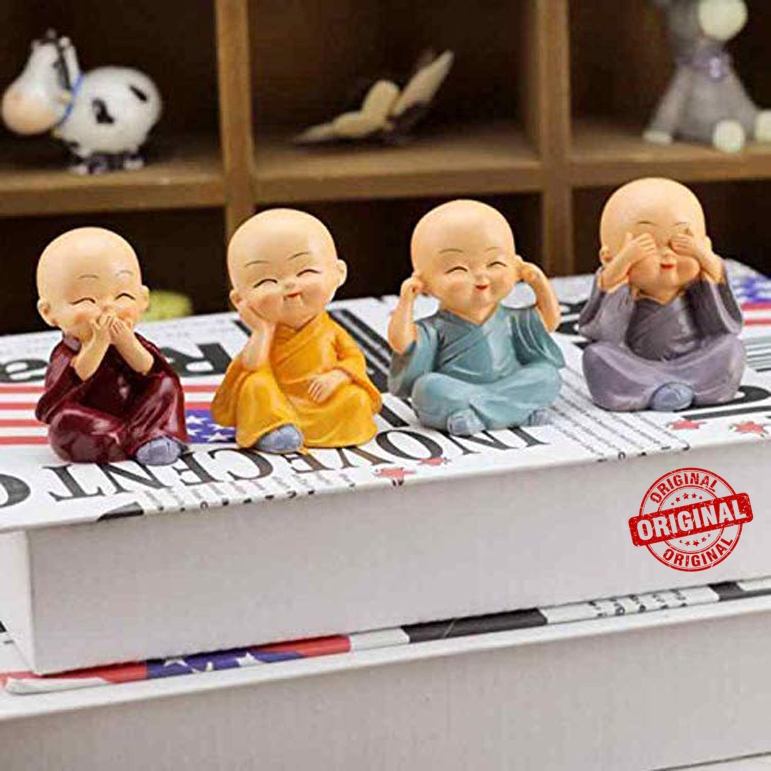 TIED RIBBONS Set of 4 Buddha Monks Statues Miniature Figurines Showpiece for Wall Shelf Table Desktop Car Dashboard Decoration Home Office Decor (Multi Color)