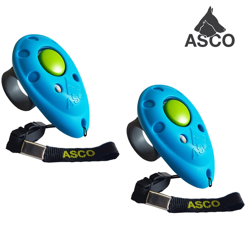 ASCO 2x Clicker professionnel pour doigt , Entraînement Dressage pour chiens chats chevaux , 2 pièces Finger Clicker de formation , bleu AC04F2X