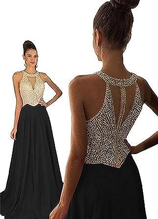 405e63793974d Jicjichos Women's Long Halter Beaded Prom Dresses Formal Gowns US2 Black