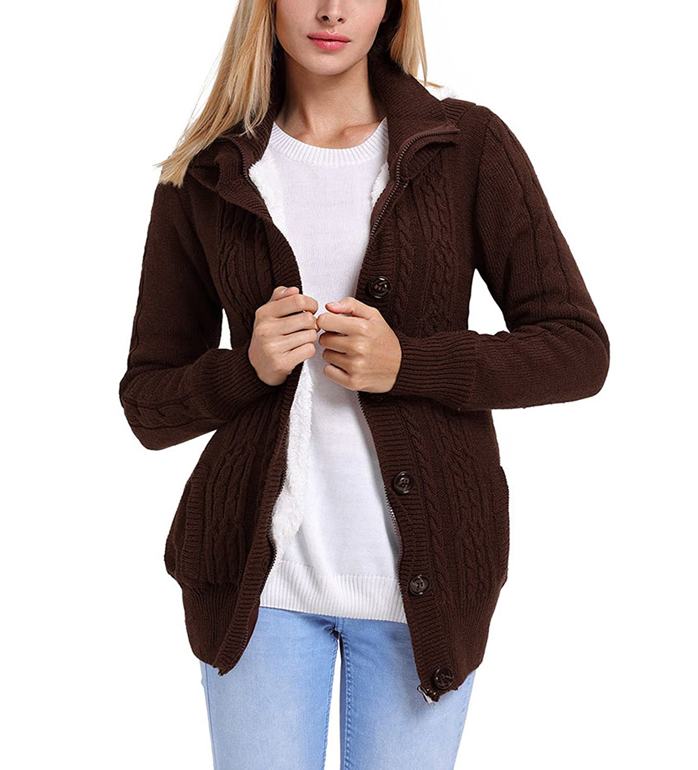 Fuwenni Women's Hooded Cable Knit Button Down Fleece Sweater Cardigans Coats with Pockets