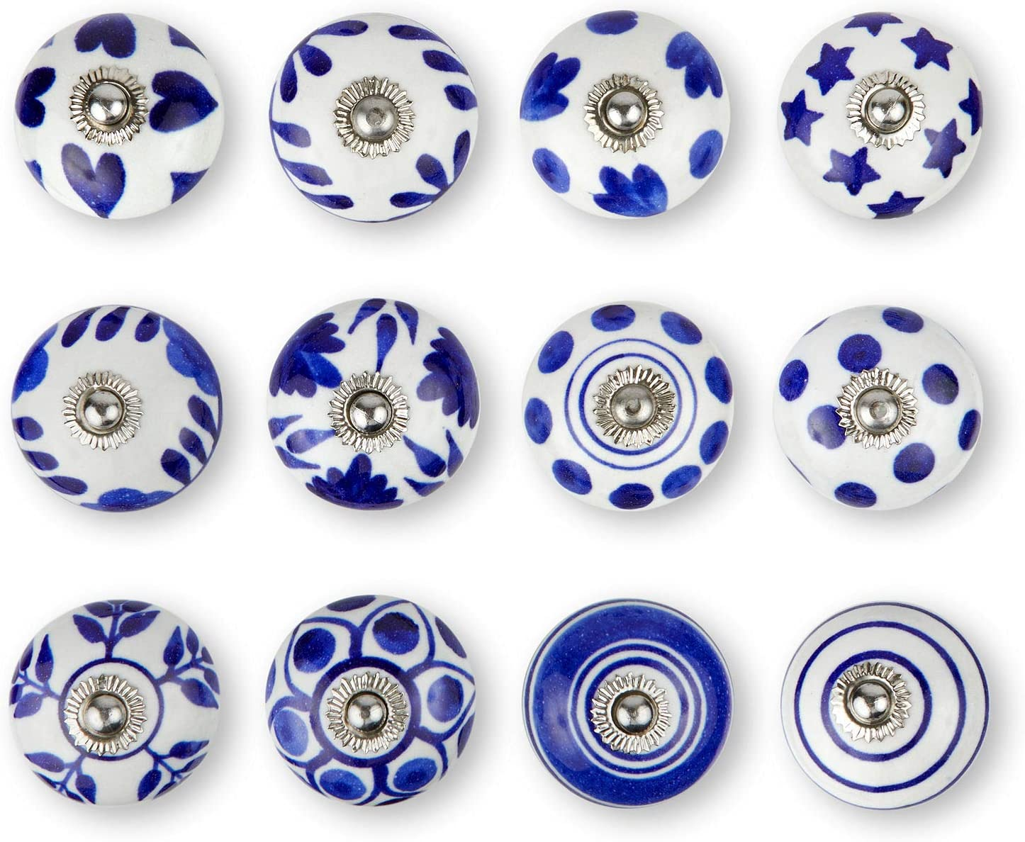 Set of 12 Handmade Ceramic Knobs | 3 Colour Design Ceramic Cabinet Knobs | Drawer Pulls for Home, Kitchen, Bathroom or Office | Drawer Knobs Comes with Wrench, Screw Cap & Extra Screws, Bolts (Blue)