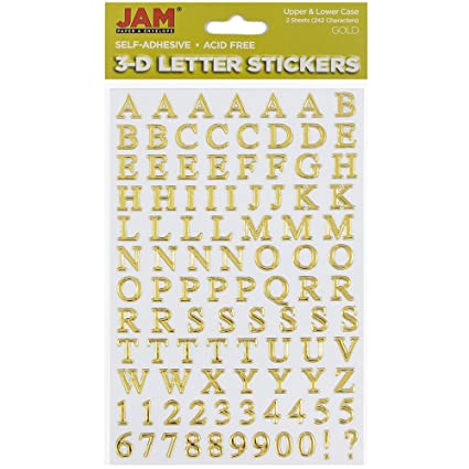 jam paper self adhesive alphabet letter stickers gold upper lower case 2