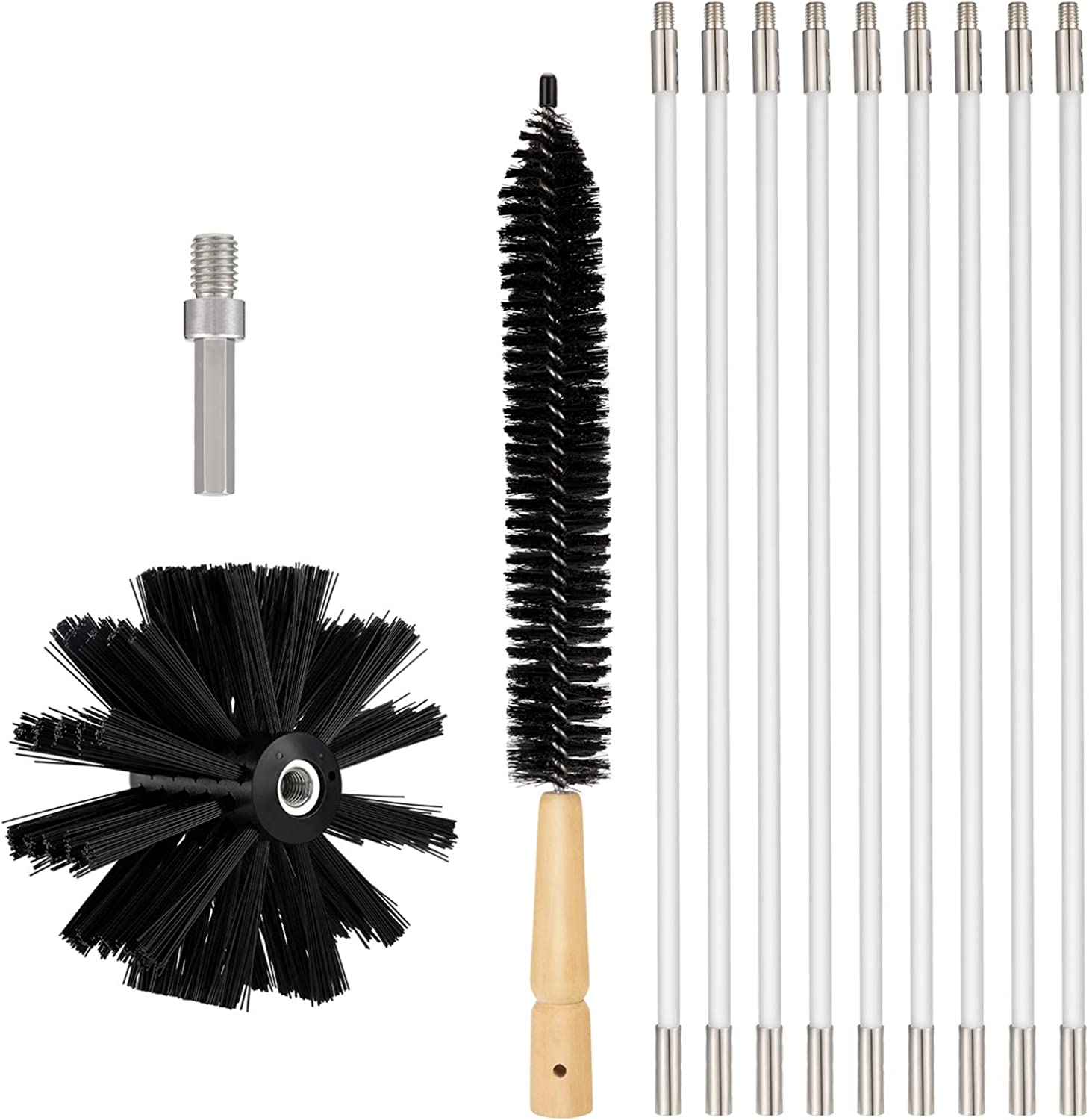OAK LEAF Dryer Vent Cleaner Kit 12 Feet, Flexible 9 Rods Dry Duct Cleaning Kit Chimney Sweep Brush with Brush Head and Dryer Lint Brush, Extend up to 12 Feet, Use with or Without a Power Drill
