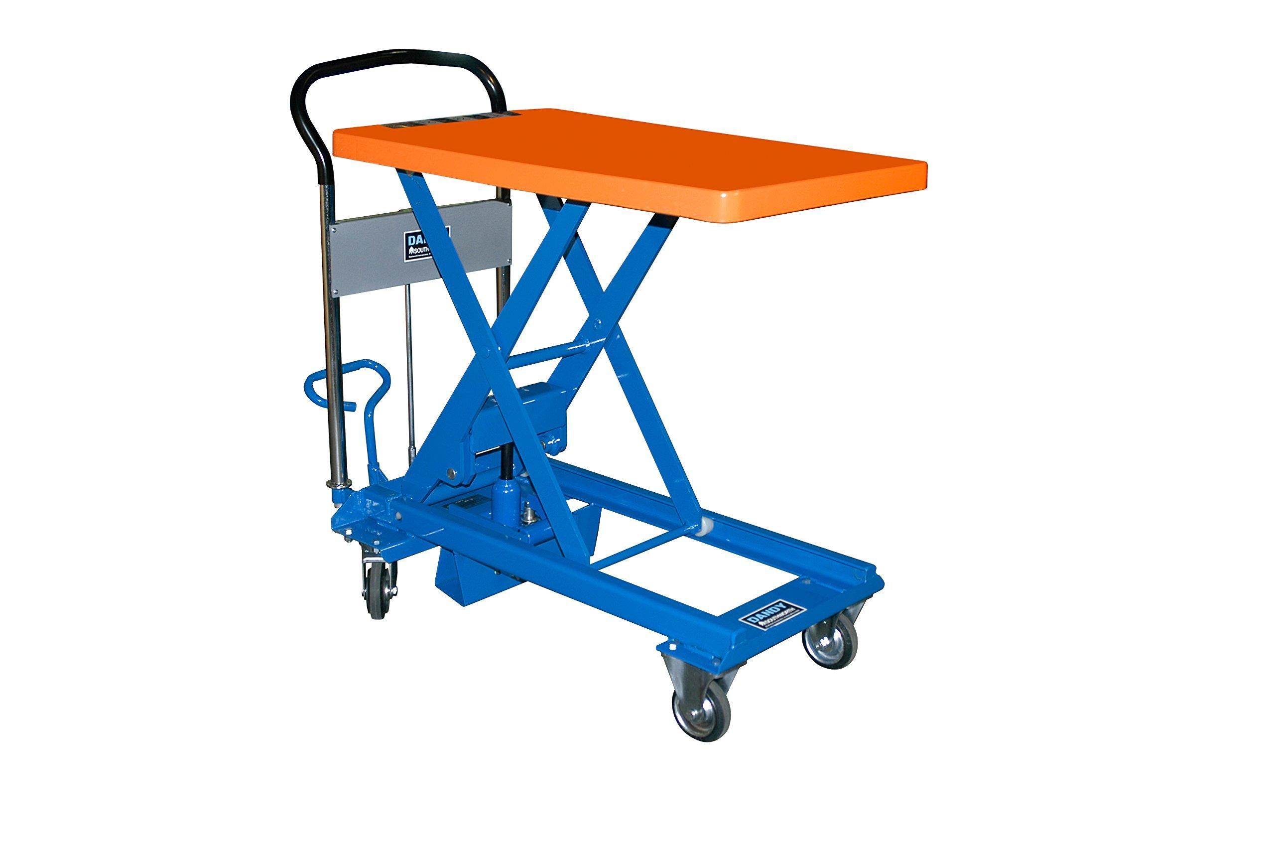Southworth Products L-150 Dandy Manual Scissor Lift Cart, Foot Pump, 330 lb. Capacity, 17.7'' x 38.2'' Platform