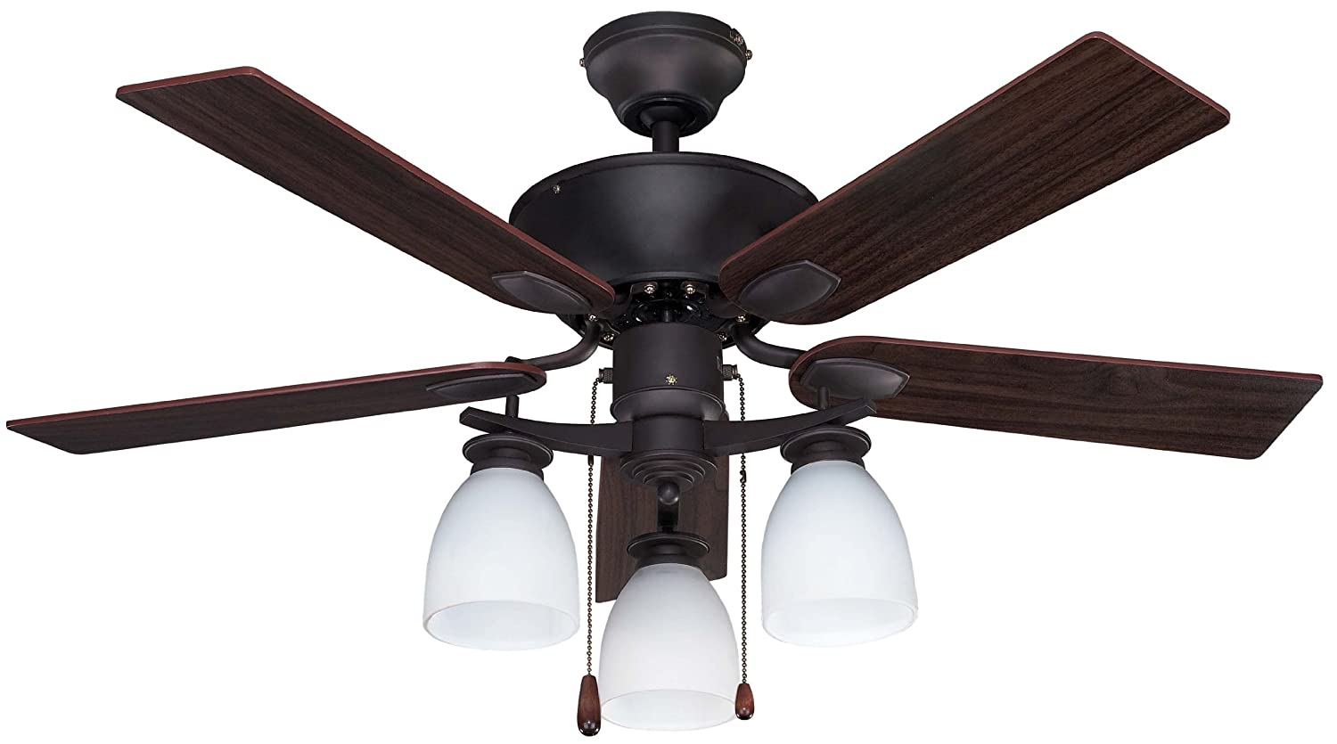 Com Canarm Cf42new5orb New Yorker Dual Mount 42 Inch Ceiling Fan With Flat Opal Light Kit And 5 Reversible Blades Oil Rubbed Bronze Home