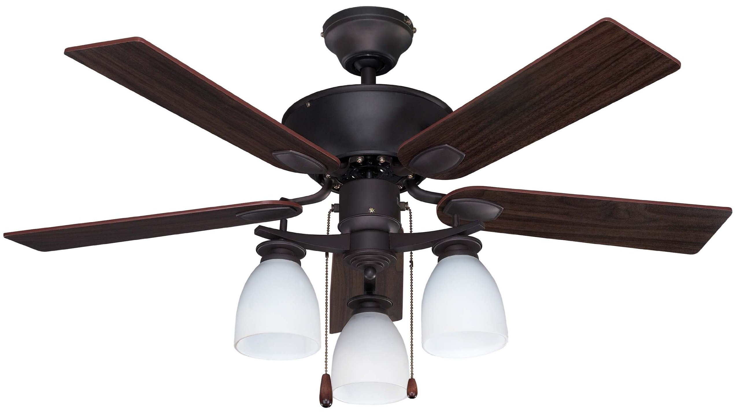 Canarm CF42NEW5ORB New Yorker Dual Mount 42-Inch Ceiling Fan with Flat Opal Light Kit and 5 Reversible Blades, Oil Rubbed Bronze by Canarm
