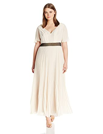 ABS by Allen Schwartz Women\'s Plus-Size Pleated Chiffon Gown with Flutter  Sleeves