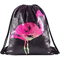 Deeplive Mermaid Sequin Drawstring Backpack Glittering Outdoor Shoulder Bag, Magic Reversible Dance Bag Fashion Bling Shining Bag, Sports Backpack Bag