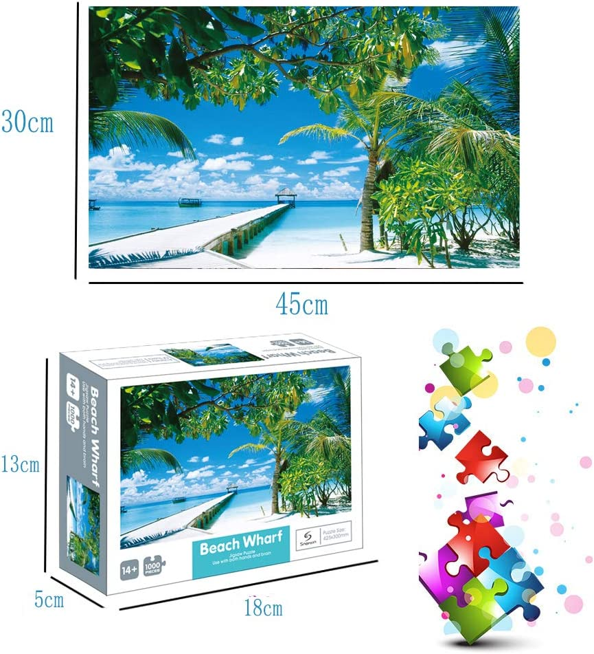 Educational Intellectual Decompressing Fun Game for Kids Adults Toy 16.54x11.81 inch 1000 Pieces Puzzles Jigsaw Puzzles-Beach Wharf