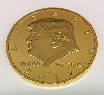 2PCS 2017 President Donald Trump Inaugural EAGLE Novelty Commemorative Gold Coin