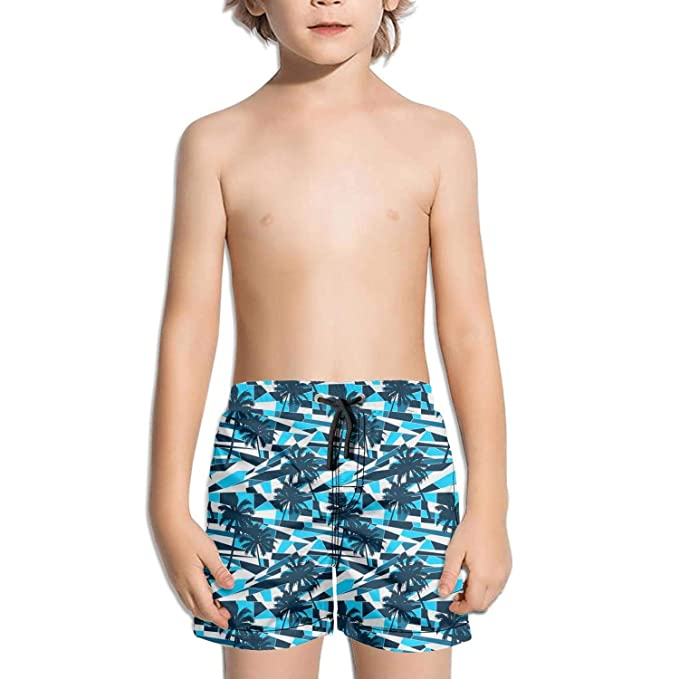 DSDRFE2DEW Swimming Trunks Abstract surf Pattern with Palm Trees Adjustable Shorts for Kidwith Drawstring