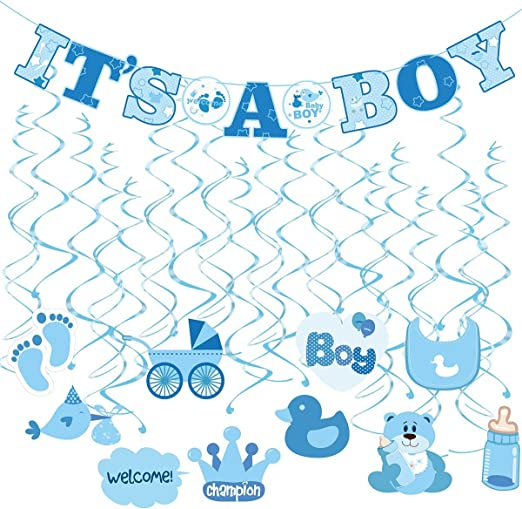 Amazon Com Tinksky 30pcs It S A Boy Banner Boy Baby Shower Dizzy Danglers Spiral Hanging Decoration For Parties 1banner 20dizzy Danglers 10cards Home Kitchen